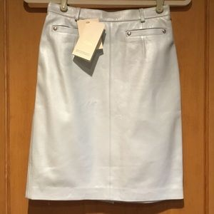 ESCADA|Vintage Pearl Pale Blue Leather Skirt Sz:34